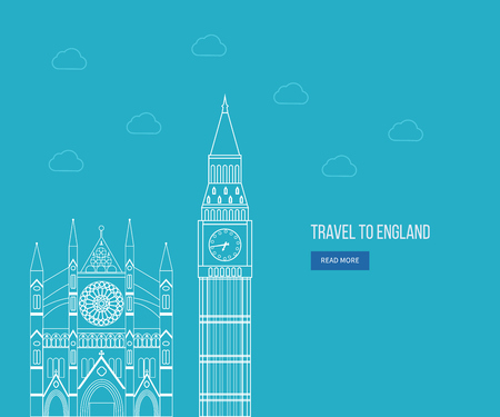 westminster abbey: London, United Kingdom flat icons design travel concept. London travel. Historical and modern building. Thin line icons Illustration