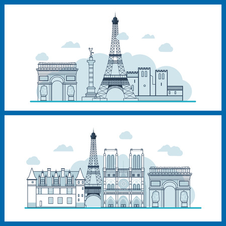 tourists: French Landmarks. Travel to France. Eiffel tower, Notre Dame in Paris, France. Thin line building Illustration