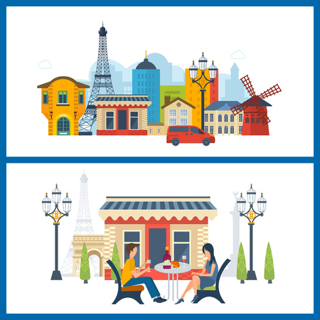 notre: French Landmarks. Vector travel destinations icon set. Eiffel tower, Notre Dame in Paris, France. Loving man and woman sitting at a table in a cafe in Paris