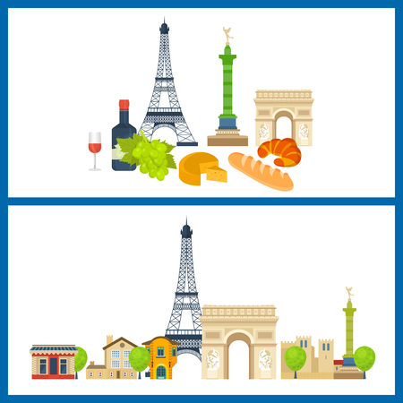 monumental: French Landmarks. Travel to France. Eiffel tower, Notre Dame in Paris, France