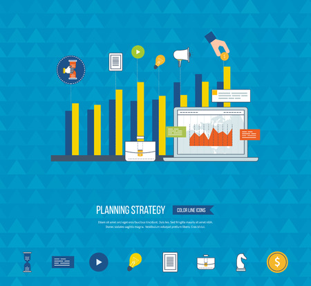 strategy meeting: Planning strategy and marketing strategy concept. Investment growth. Planning meeting and project management concept