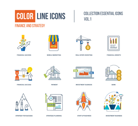 secure shopping: Color thin Line icons set.   pictograms for websites, banners, infographic illustrations. Financial strategy, mobile marketing, strategic planning, investment, start-up, strategy for success