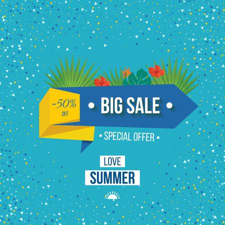 在白色背景的大销售横幅。大销售和特价。爱暑假。矢量图。