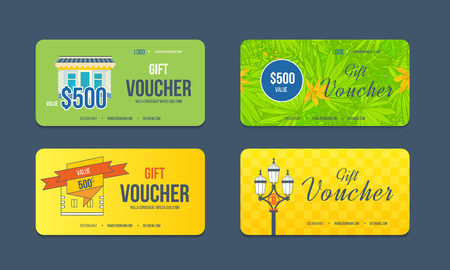 calling card: Gift voucher template. Collection gift certificate business card, banner, calling card, poster. Discount coupon. Special offer Illustration