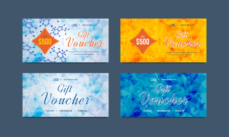calling card: Gift voucher template with bright abstract pattern. Collection gift certificate business card, banner, calling card, poster. Discount coupon. Special offer.