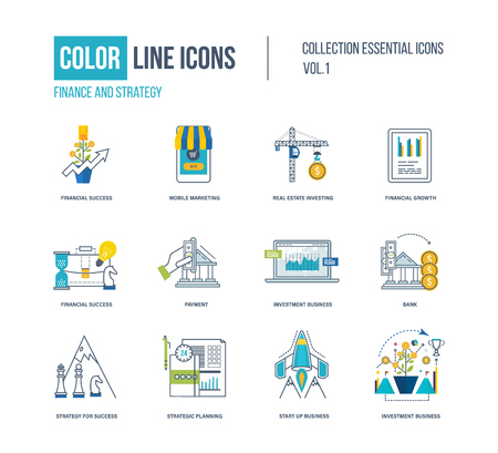 strategic planning: Color thin Line icons set. pictograms for websites, banners, infographic illustrations. Financial strategy, mobile marketing, strategic planning, investment, start-up, strategy for success