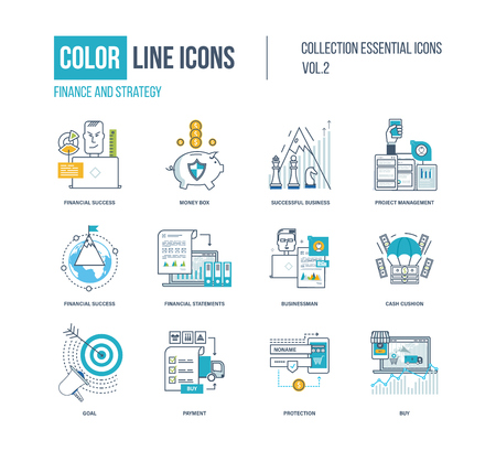 Color thin Line icons set.  pictograms for websites, banners, infographic illustrations. Financial success, project management, protection, investment, businessman, strategic planning, payment Vettoriali