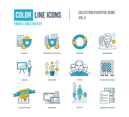 line work: Color thin Line icons set.  pictograms for websites, banners, infographic illustrations. Security, investment, exchange, businessman, leader, planning discount store workplace start-up