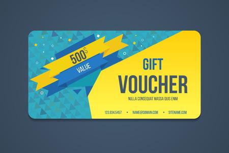 Cadeau modèle de bon de réduction. carte Chèque cadeau d'affaires, bannière, carte de visite, affiche. Coupon de réduction. Offre spéciale