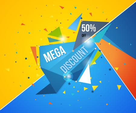 Super Sale banner on colorful background. Mega discount. Special offer. Geometric design. Modern Flyer and Poster. Vector illustration.