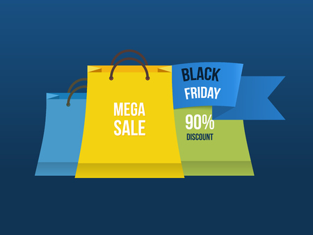 low prices: Sale bag labels. Mega discount with low prices promotion. Shopping advertisement poster. Vector illustration