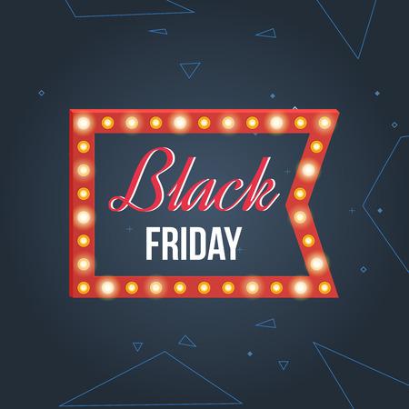 special events: Black friday sale design template. Super Sale banner on colorful background. Mega discount. Special offer. Retro light frame. Vector illustration. Illustration