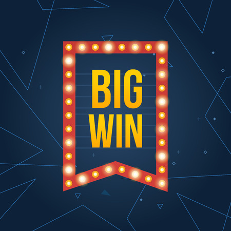 roulette online: Big Win sign with lamp background for online casino, poker, roulette, slot machines, playing cards, mobile game. Big Win banner. Vector illustrator.