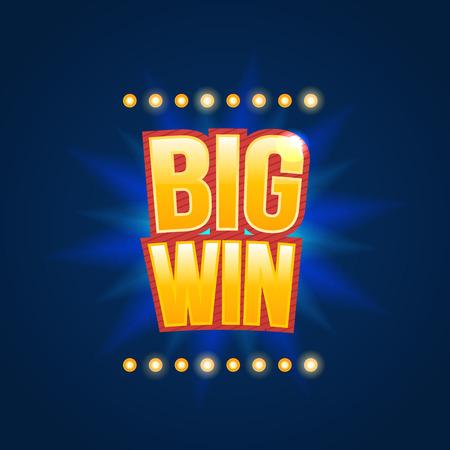 tragamonedas: Big Win firmar con el fondo de la lámpara para el casino en línea, poker, ruleta, máquinas tragamonedas, cartas de juego, juego para móviles. Bandera grande de victorias. Vector ilustrador.