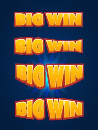 tragamonedas: Big Win firmar con el fondo de la l�mpara para el casino en l�nea, poker, ruleta, m�quinas tragamonedas, cartas de juego, juego para m�viles. Conjunto grande de victorias bandera. Vector ilustrador.