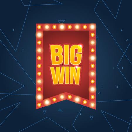 tragamonedas: Big Win firmar con el fondo de la l�mpara para el casino en l�nea, poker, ruleta, m�quinas tragamonedas, cartas de juego, juego para m�viles. Bandera grande de victorias. Vector ilustrador.