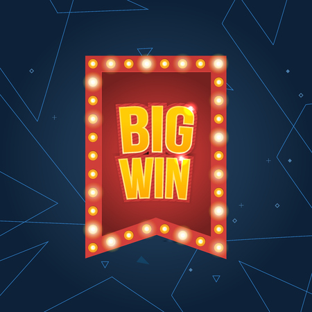 online roulette: Big Win sign with lamp background for online casino, poker, roulette, slot machines, playing cards, mobile game. Big Win banner. Vector illustrator.