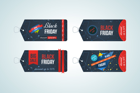 cheap prices: Black friday sale banner design set. Black friday design, sale, discount, advertising, marketing price tag.