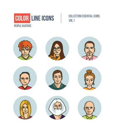 professional occupation: Color thin Line icons for Business avatars set. pictograms for websites, banners, infographic illustrations. Icons set for profile page, social network, professional human occupation.