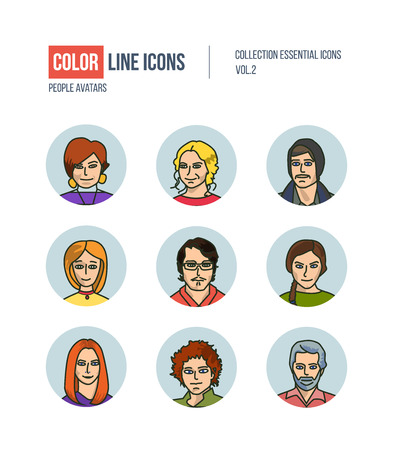 professional occupation: Color thin Line icons for Business avatars set.   pictograms for websites, banners, infographic illustrations. Icons set for profile page, social network, professional human occupation. Illustration