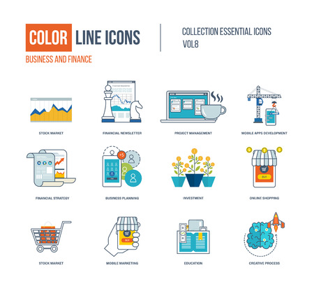 Marketing Strategy: Color thin Line icons set. Stock market, financial newsletter, project management, mobile apps development, education, financial strategy, investment, mobile marketing.