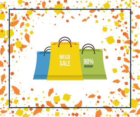 Autumn Super Sale banner on colorful background. Autumn discounts. Special offer. Geometric design. Modern Flyer and Poster. Vector illustration. Illustration