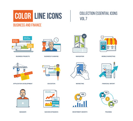 logo marketing: Color thin Line icons set. Business project and planning, mobile marketing, application development, online education, financial report, investment growth, training. Colorful logo and pictograms