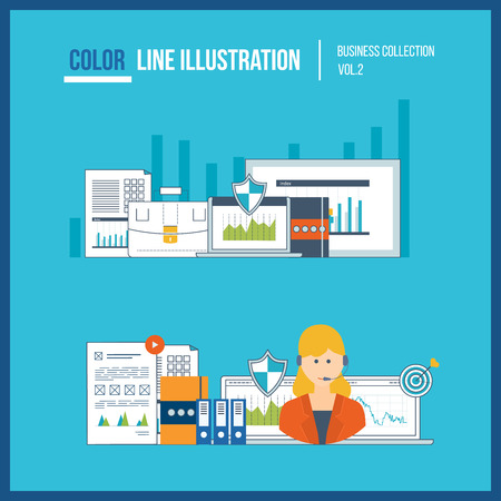 financial statement: Concepts for business analysis, financial statement, consulting, teamwork, project management and development. Investment business. Financial strategy. Online education. Color line illustration