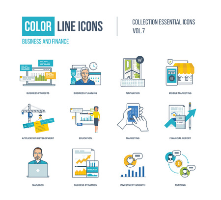 financial growth: Color thin Line icons set. Business project and planning, mobile marketing, application development, online education, financial report, investment growth, training. Colorful logo and pictograms