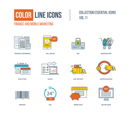 shop online: Color thin Line icons set. Finance, mobile marketing, shopping cart, express delivery, online store, shop store, survey. Illustration