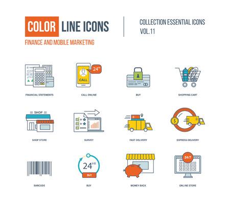 El conjunto de colores iconos de la forma. Finanzas, marketing móvil, carro de compras, de entrega urgente, tienda online, tienda de la tienda, encuesta.