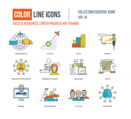 career success: Color thin Line icons set. Success in business, career progress, business online, office, recruiting, webinar, career growth, our team, brainstorm, timetable of classes. Illustration