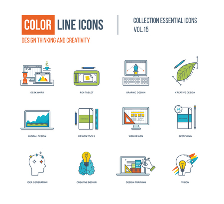 idea generation: Color thin Line icons set. Design thinking and creativity, desk work, graphic and digital design, design tools, sketching, creative, idea generation, training, vision. Illustration