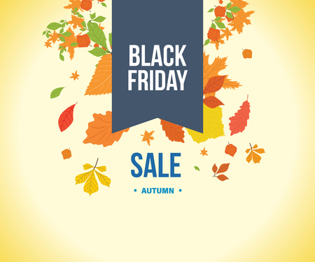special events: Autumn Super Sale banner with autumn leaves. Autumn discounts. Special offer. Business card, banner, calling card, flayer, poster. Black Friday. Vector illustration