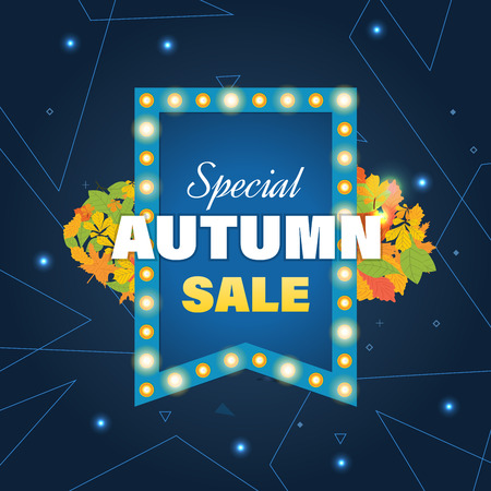 Autumn Super Sale banner with autumn leaves. Autumn discounts. Special offer. Business card, banner, calling card, flayer, poster. Vector illustration