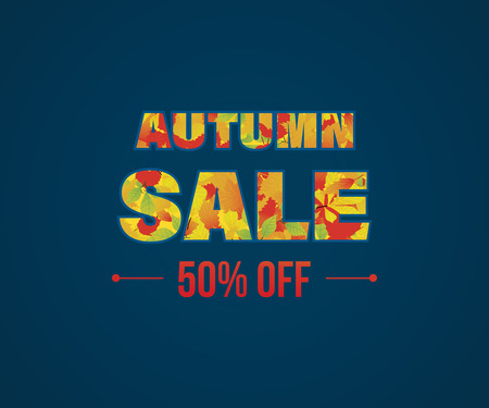 special events: Autumn Super Sale banner with autumn leaves. Special offer. Illustration with text made of colorful leaves. Vector illustration