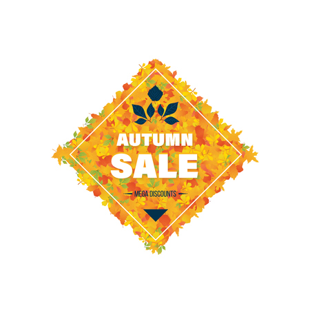 Autumn Super Sale banner with autumn leaves. Special offer. Business card, banner, calling card, flyer, poster. Illustration on the background of colorful leaves. Vector illustration