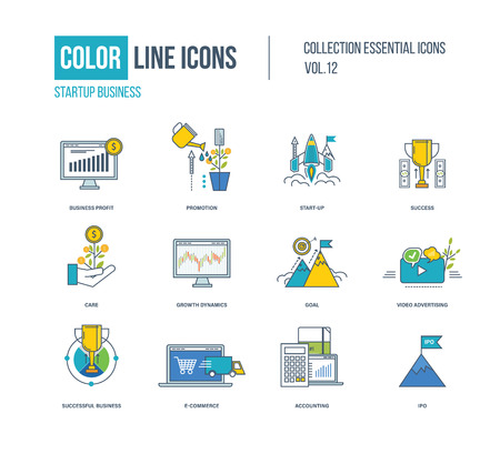 office product: Color thin Line icons set. Startup business, promotion,mobile marketing,express delivery, success, goal, growth dynamics, video advertising, ipo, e-commerce care Illustration