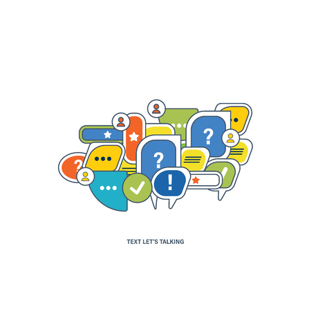 lets: The concept of dialogue, speech bubbles with symbols of communication. Lets go.Vector illustration
