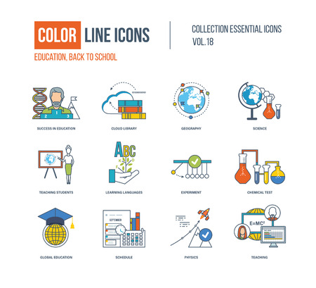 successful student: Color thin Line icons set. Back to school, success in education, science research, teaching student, learning languages, chemical test, shedule, global education. Colorful logo and pictograms