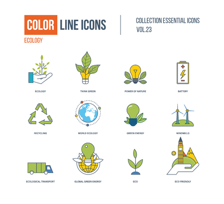eco icons: Color thin Line icons set. Ecology, green energy, think green, recycling, world ecology, ecological transport, eco, windmills, battery, organic eco friendly Illustration