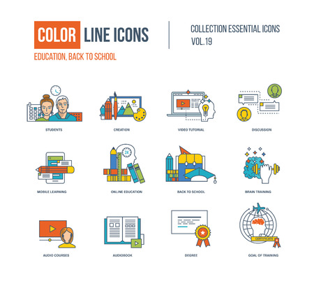 audiobook: Color thin Line icons set. Back to school, creation, video tutorial, discussion, mobile learning and education, brain training, audio courses, audiobook, goal of training.