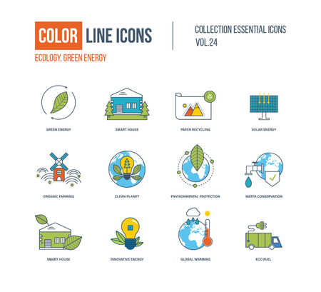 eco icons: Color thin Line icons set. Ecology, green energy, smart house, recycling, solar energy, organic farmer, clean planet, environmental protection, water conservation, innovative energy eco fuel