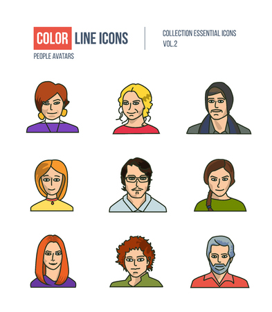 bussines: People collection BUSINESS. Set of various men and women: programmer, sales, managers, mixed age in flat style icons.   pictograms for websites, banners, infographic illustrations. Illustration