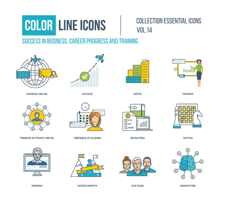 recruiting: Color Line icons collection. Business online, career progress, training, recruiting, webinar, career growth, our team, brainstorm timetable of classes Illustration