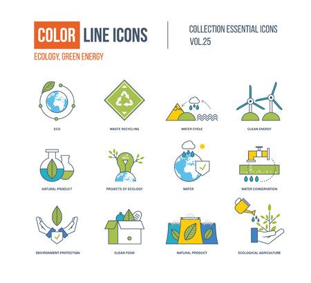 Color Line ikony kolekcji. Ekologia, ochrona wody, recykling odpadów, czysta energia, produkt naturalny, ochrona środowiska, czyste jedzenie, rolnictwo ekologiczne