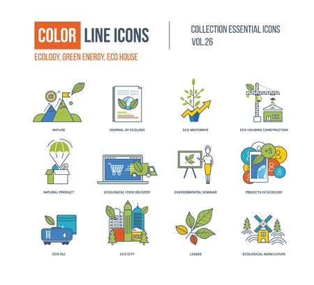 natural color: Color Line icons collection. Ecology, nature, journa of ecology, eco movement, eco housing construction,natural product, food delivery, seminar, eco oli, city leavesecological agriculture