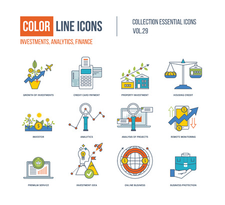investor: Color Line icons collection. Growth of investment, credit card payment, property investment, investor, analysis of project, remote monitoring, premium service, investment idea, online business Illustration