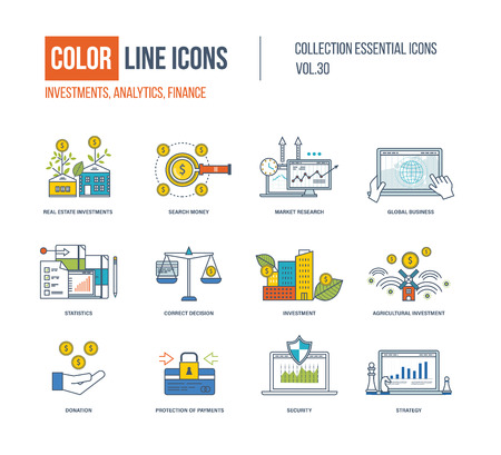 global finance: Color Line icons collection. Real estate investment, finance, search money, market research, global business, correct decision, agricultural investment, donation, protection of payment, strategy
