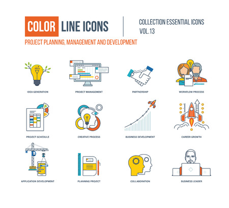 career management: Color Line icons collection. Project management, partnership, workflow process, creative process, business development, career growth, application development, collaboration business leader